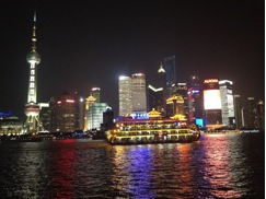 Looking across the Bund in Shaghai at Pudong